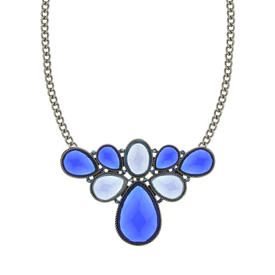 Silver-Tone Blue Stone and AB Blue Cluster Bib Necklace 16 In Adj