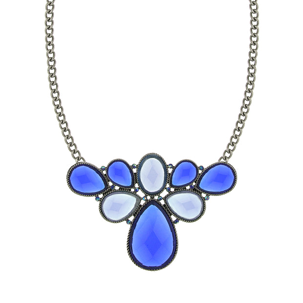 Silver Tone Blue Stone And Ab Blue Cluster Bib Necklace 16   19 Inch Adjustable