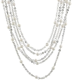 Signature Silver-Tone Simulated Pearl Layered Necklace