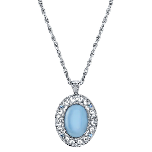 Silver-Tone Blue Moonstone Color Oval Pendant Necklace 22 In