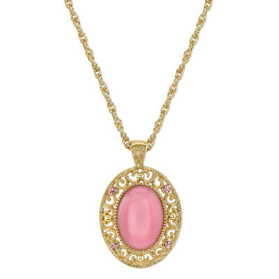 Gold Tone Pink Moonstone Color Oval Pendant Necklace 22 In