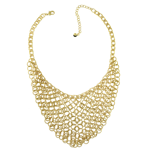 Gold Tone Chain Link Bib Necklace 16   19 Inch Adjustable