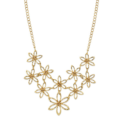 Gold-Tone Flower Bib Necklace 16 In Adj