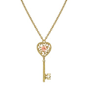 Gold Tone Pink Porcelain Rose Heart Key Pendant Necklace 16 - 19 Inch Adjustable