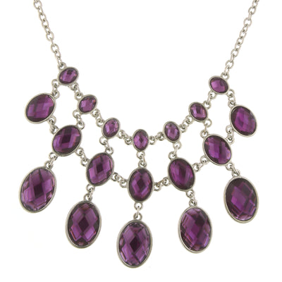 Silver Tone Purple Faceted Stone Bib Necklace 16   19 Inch Adjustable