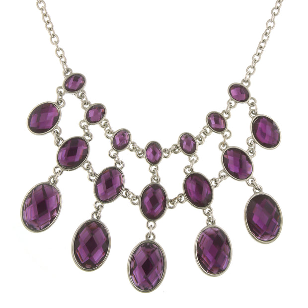 Silver-Tone Purple Faceted Stone Bib Necklace 16 In Adj