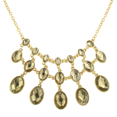 Gold-Tone Light Topaz Color Faceted Foil Back Bib Necklace 16 - 19 Inch Adjustable