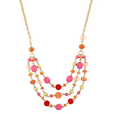 Gold-Tone Orange And Pink Tonal Beaded 3-Strand Necklace 16 - 19 Inch Adjustable