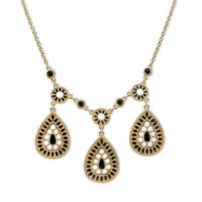 Gold-Tone Black And White Enamel Pearshape Drop Necklace 16 - 19 Inch Adjustable