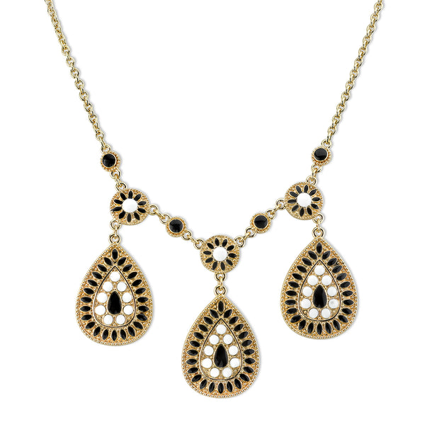 Gold Tone Black And White Enamel Pearshape Drop Necklace 16   19 Inch Adjustable