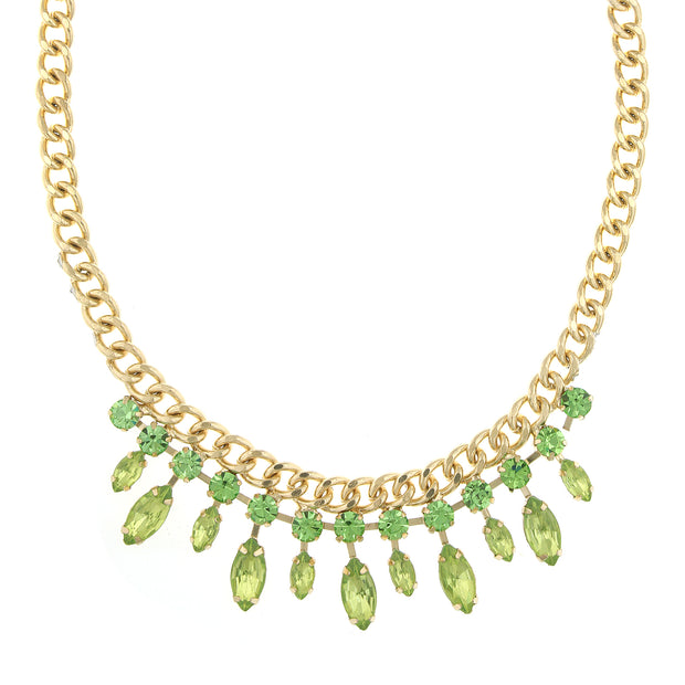 Gold Tone Peridot Crsytal And Green Navette Collar Necklace 16   19 Inch Adjustable