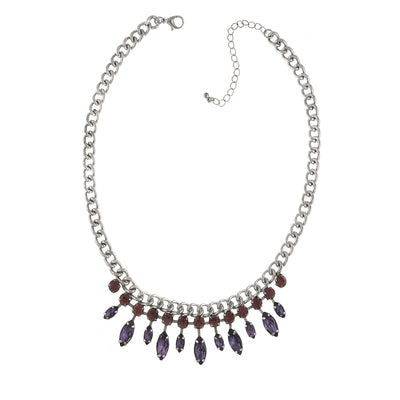 Silver Tone Light Amethyst Crystal And Purple Navette Necklace 16   19 Inch Adjustable