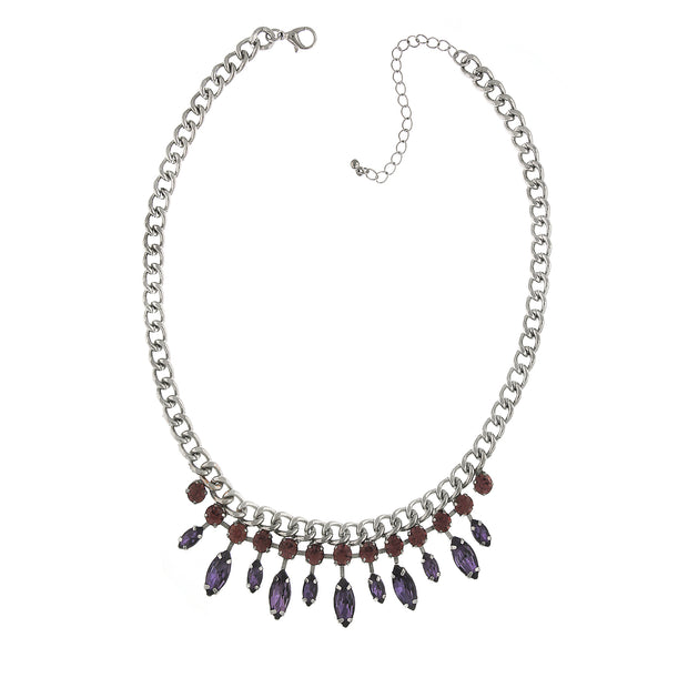 Silver-Tone Light Amethyst Crystal and Purple Navette Necklace 16 In Adj