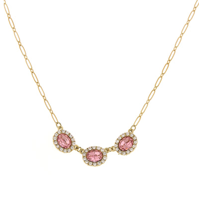 Gold-Tone Light Rose Oval Czech Crystal Necklace 16 - 19 Inch Adjustable