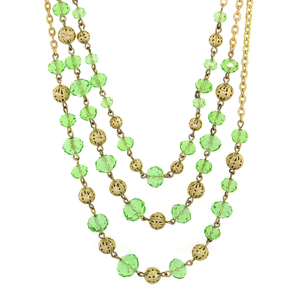 Gold Tone Green Beaded 3 Strand Necklace 16   19 Inch Adjustable