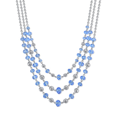 Silver Tone Lt. Sapphire Blue Beaded 3 Strand Necklace 16   19 Inch Adjustable