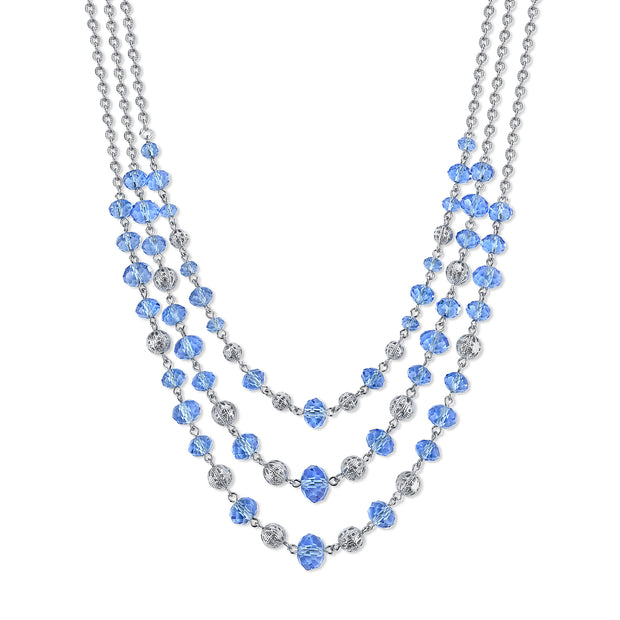 Silver-Tone Lt. Sapphire Blue Beaded 3-Strand Necklace 16 - 19 Inch Adjustable