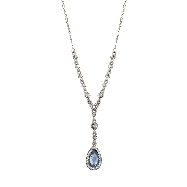 Silver-Tone Lt. Blue And Crystal Teardrop Y-Necklace 16 - 19 Inch Adjustable