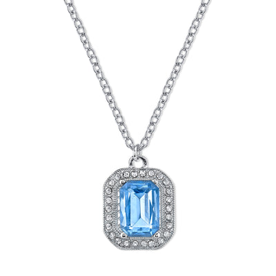 Silver-Tone Lt. Sapphire Blue w/ Crystal Octagon Pendant Necklace 16 In Adj