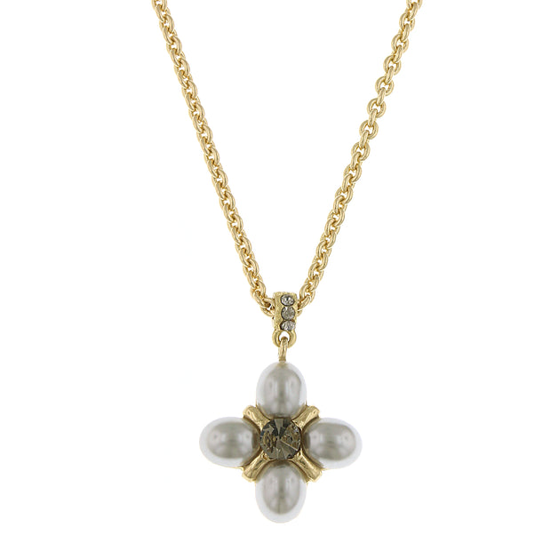 Gold-Tone Grey Costume Pearl w/ Black Diamond Accent Pendant Necklace 16 In Adj