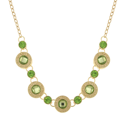 Gold-Tone Green Station Collar Necklace 16 In Adj