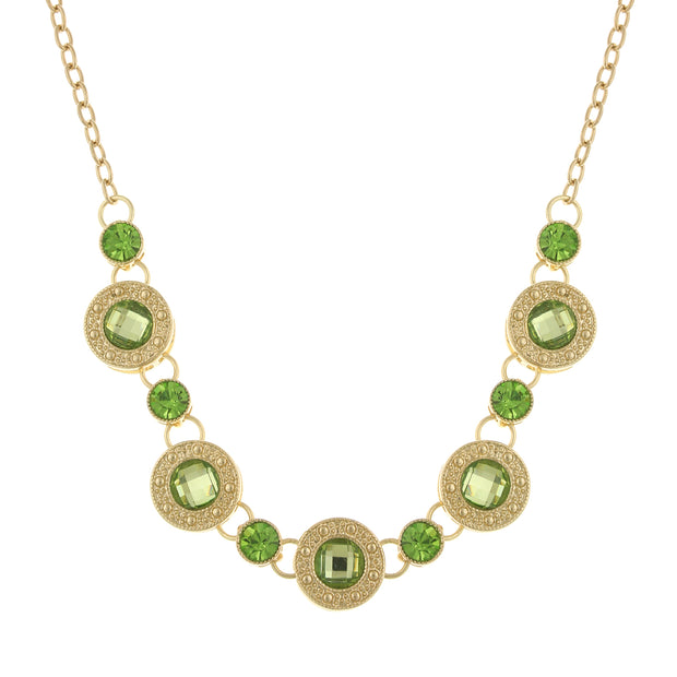 Gold-Tone Green Station Collar Necklace 16 - 19 Inch Adjustable