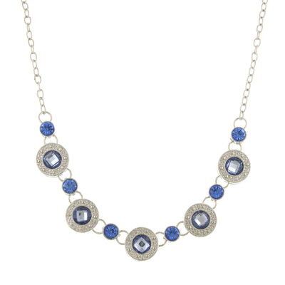 Silver Tone Blue Station Collar Necklace 16   19 Inch Adjustable