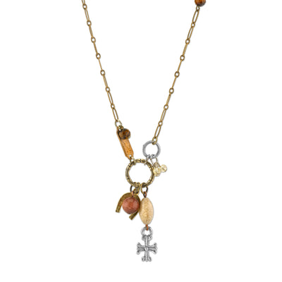 Talisman Of Tenacity With Horseshoe Cross And Gemstone Beads Necklace 30 In