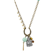 Talisman Of Wonderment With Buddha And Gemstone Beads Necklace 30 In
