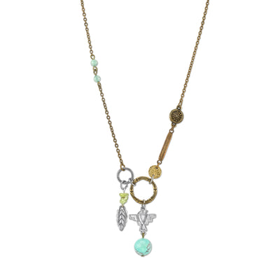 Talisman of Loyalty with Leaf, Thunderbird and Gemstone Beads Necklace 30 In