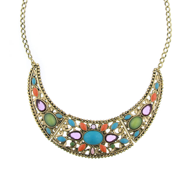 Brass Multi Color Bib Collar Necklace 16   19 Inch Adjustable