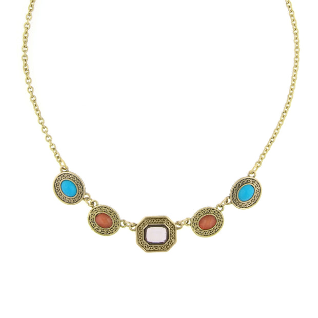 Brass Multi Color Collar Necklace 16 - 19 Inch Adjustable