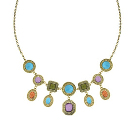 Signature Brass Tone Multi Color Drop Bib Necklace