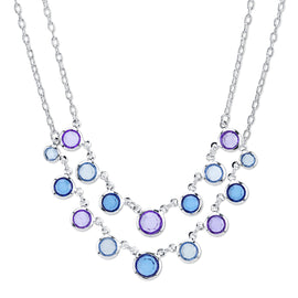 Fashion Jewelry - 2028 Catalina Bezel Set Blue & Purple Beaded Layer Necklace