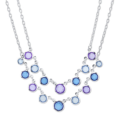 Silver Tone Sapphire Blue 2 Row Necklace 16   19 Inch Adjustable