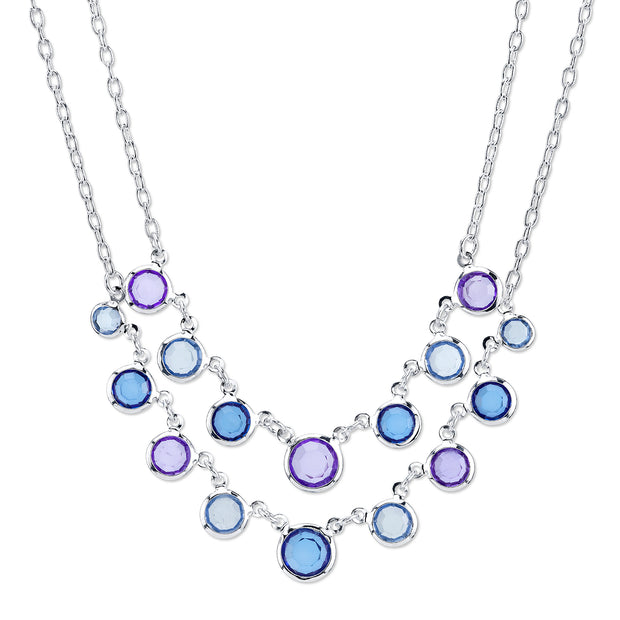 Silver-Tone Sapphire Blue 2-Row Necklace 16 In Adj