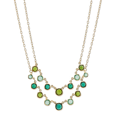Gold-Tone Green 2-Row Necklace 16 - 19 Inch Adjustable