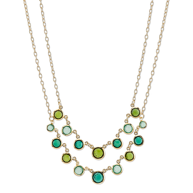 Gold Tone Green 2 Row Necklace 16   19 Inch Adjustable