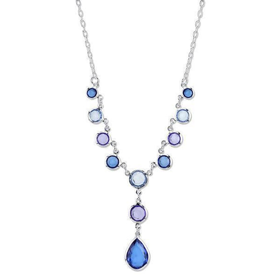 Silver-Tone Sapphire Blue and Tanzanite Purple Y-Necklace 16 Adj.
