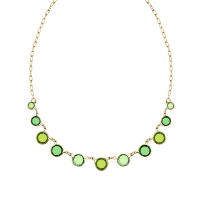 Gold-Tone Green Necklace 16 In Adj