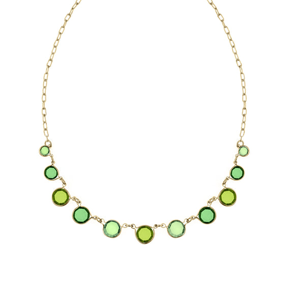 Fashion Jewelry - 2028 Catalina Gold Tone Green Necklace