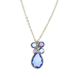 Fashion Jewelry - 2028 Catalina Silver Tone Sapphire Blue Cluster Pear Shaped Necklace