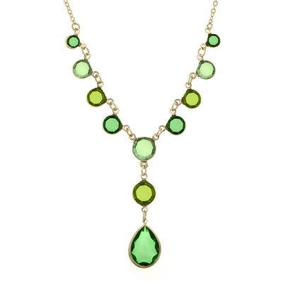 Gold-Tone Green Y-Necklace 16 In Adj