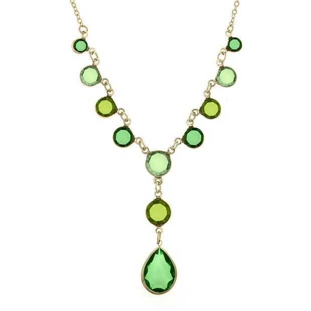 Gold Tone Green Y Necklace 16   19 Inch Adjustable