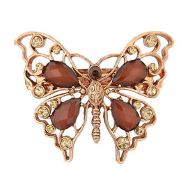 Copper-Tone Light Topaz Crystal and Topaz Faceted Butterfly Barrette