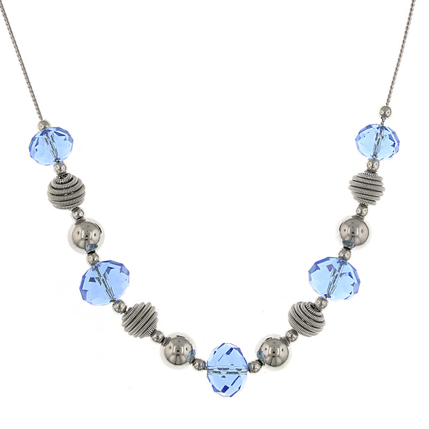 Silver Tone Blue Beaded Necklace 16   19 Inch Adjustable