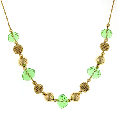 Gold Tone Green Beaded Necklace 16   19 Inch Adjustable