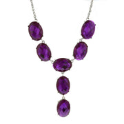 Silver-Tone Purple Oval Faceted Y-Necklace Drop Necklace 15 In Adj