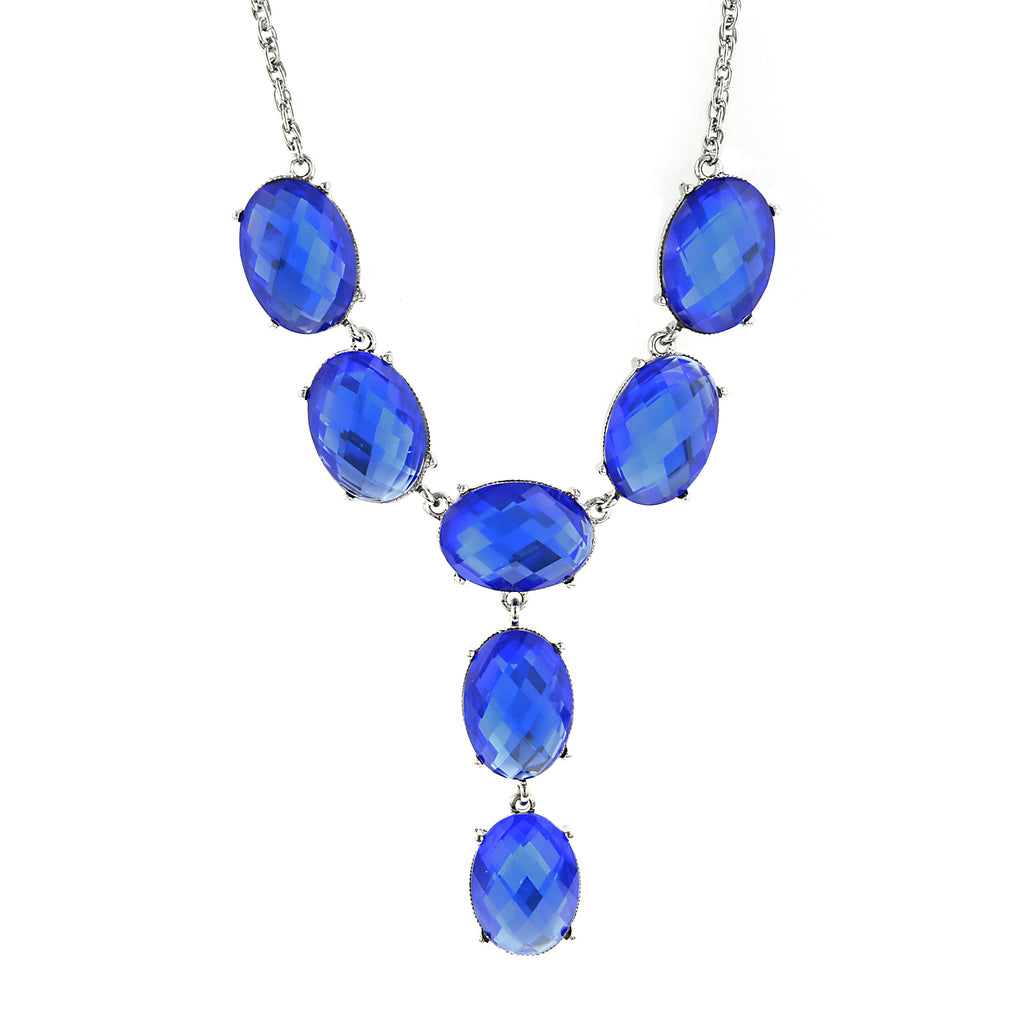 Silver-Tone Blue Oval Faceted Y Necklace