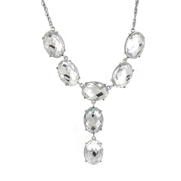 2028 Silver-Tone Oval Faceted Y-Necklace Drop Necklace 15 In Adj